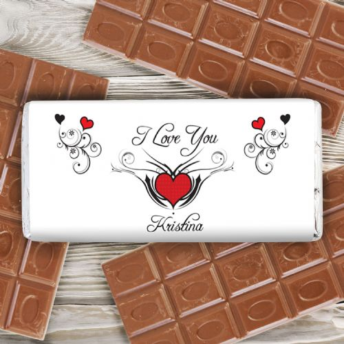 Personalised Tattoo Hearts Chocolate Bar